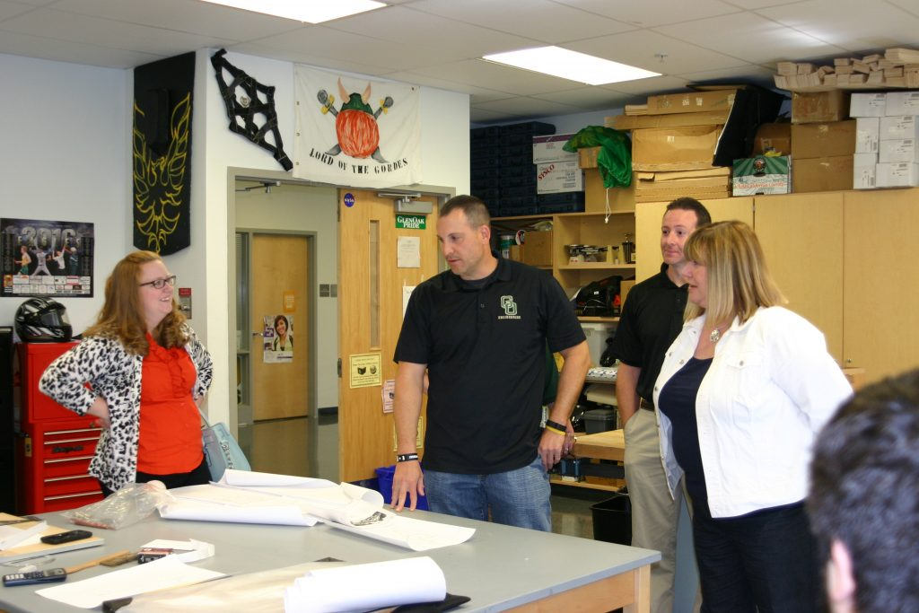 Spring 2016 Listening Tour. OEA President Becky Higgins, ECOEA President Julie Nelson and Plain Local TA President David Frederick visit the class of member Jim Walbeck at GlenOak HS.