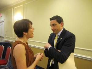 Wooster member Sharon Gonzalez shares her concerns with Senator Lou Gentile.