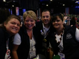 ECOEA delegates Allison Grimm and Ramona Moore, Lake Local EA, Dan Campanaro, North Canton EA, and Tracy Lemus Santos, Fairless TA, attend the opening ceremonies of the NEA Representative Assembly in Denver, Colorado.